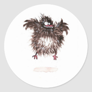 Crazy chicken classic round sticker