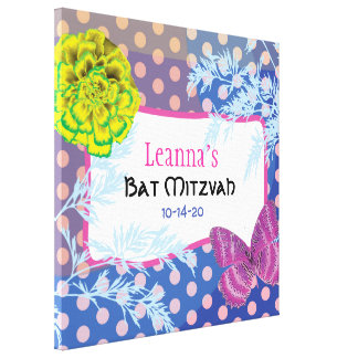 CRAZY COLLAGE Bat Mitzvah Sign-In Memory Board Canvas Print