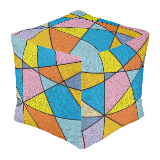 Crazy Colorful Abstract Design Pattern Cube Pouf