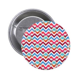 Crazy Colorful Chevron Stripes Zig Zags Pink Blue Pinback Button