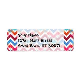 Crazy Colorful Chevron Stripes Zig Zags Pink Blue Return Address Label