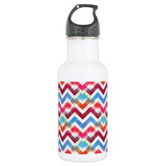 Crazy Colorful Chevron Stripes Zig Zags Pink Blue 532 Ml Water Bottle