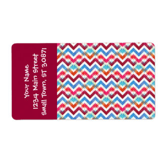 Crazy Colorful Chevron Stripes Zig Zags Pink Blue Shipping Label