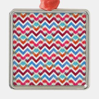 Crazy Colorful Chevron Stripes Zig Zags Pink Blue Silver-Colored Square Decoration