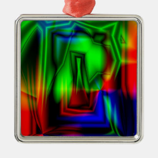 Crazy Colorful Square Metal Christmas Ornament