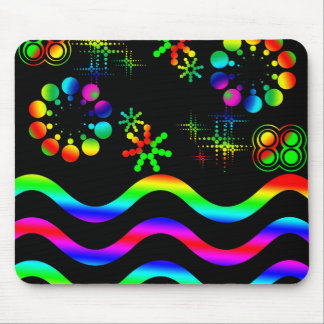 Crazy colors and shapes mouse pad