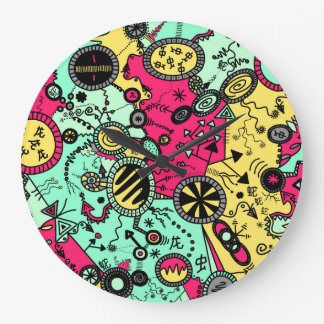 Crazy Colour Doodle Large Clock