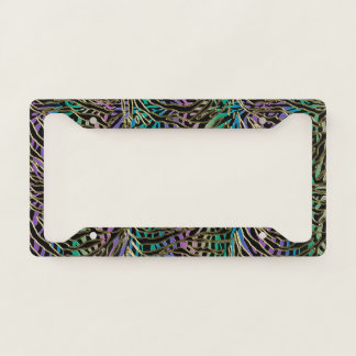Crazy Colourful Animal Print Abstract License Licence Plate Frame