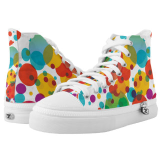 Crazy Colourful Dots High Top Shoes