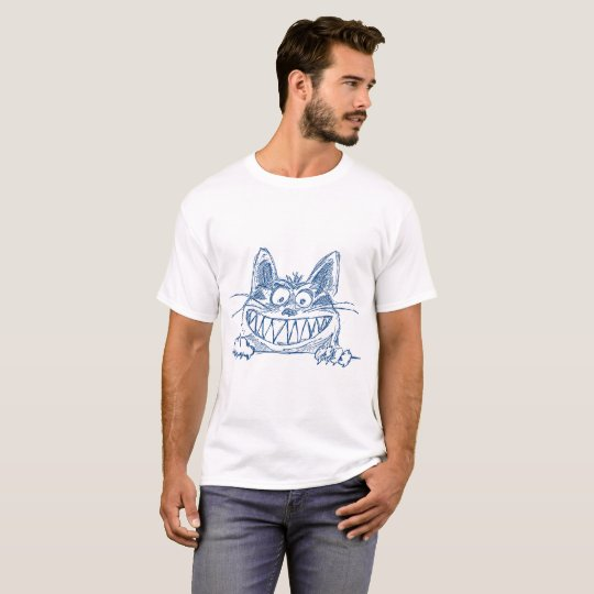 Crazy Cool Cat in Blue T-Shirt
