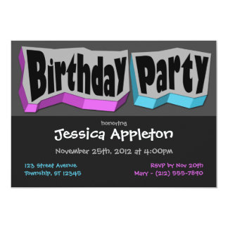 Crazy Cool Purple & Blue Birthday Party Invitation
