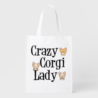 Crazy Corgi Lady Reusable Grocery Bag