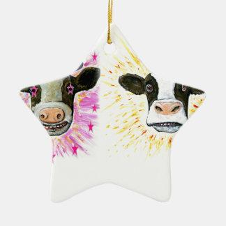 Crazy Cows Ceramic Star Decoration