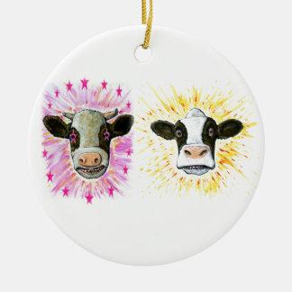 Crazy Cows Round Ceramic Decoration