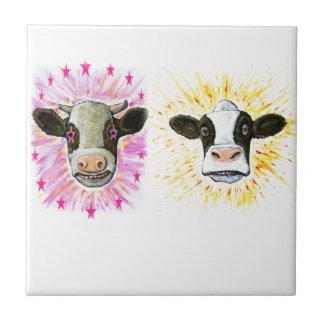 Crazy Cows Small Square Tile