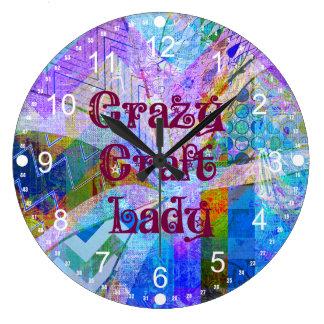 Crazy Craft Lady Blue Purple Butterfly Chevron Col Large Clock