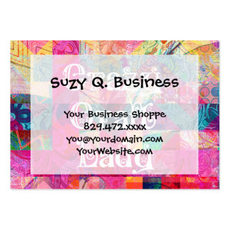 Crazy Craft Lady Colorful Pattern Vibrant Crafting Business Card Template
