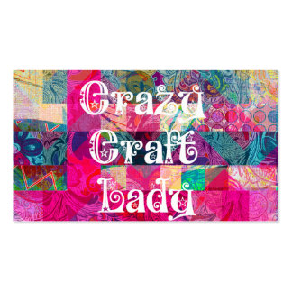 Crazy Craft Lady Colorful Pattern Vibrant Crafting Business Card Templates