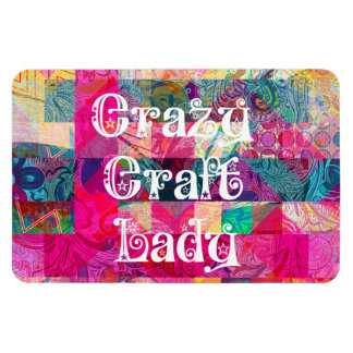 Crazy Craft Lady Colorful Pattern Vibrant Crafting Flexible Magnet