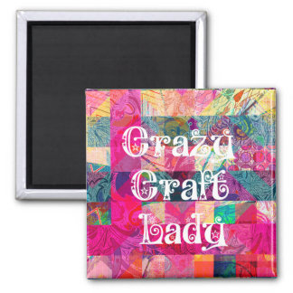 Crazy Craft Lady Colorful Pattern Vibrant Crafting Refrigerator Magnets