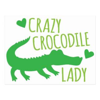 Crazy Crocodile Lady Postcard