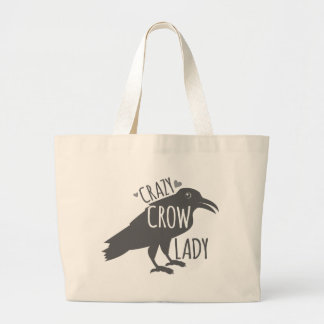 Crazy Crow Lady Large Tote Bag