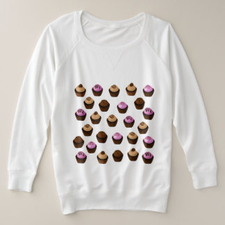 Crazy Cupcakes Pink Brown and White Plus Size Top
