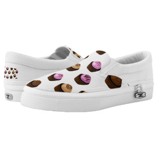 Crazy Cupcakes Pink Brown and White Slip On Shoes