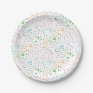 Crazy Cute Cats Colorful Cartoon Birthday Party Paper Plate