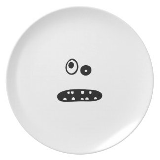 Crazy cute face illustration plate