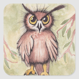 Crazy Cute Owl Square Sticker