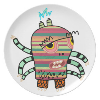 Crazy Cute Six-Armed Panic Monster Decorated Plate