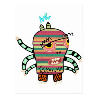 Crazy Cute Six-Armed Panic Monster Postcard