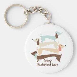 Crazy Dachshund Lady Keychain