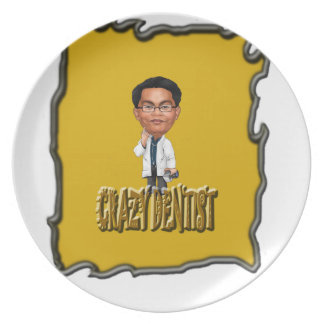 Crazy Dentist coloring Yellow Party Plate