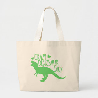 crazy dinosaur lady tyrannosaur in green large tote bag