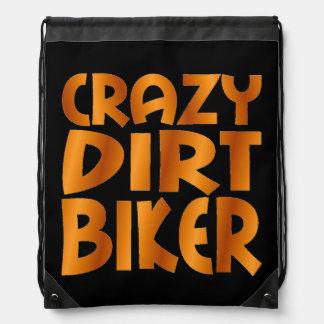 Crazy Dirt Biker in Burn Out Orange Drawstring Bag