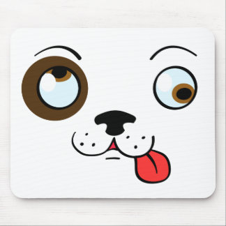 Crazy Dog Face Mouse Pad