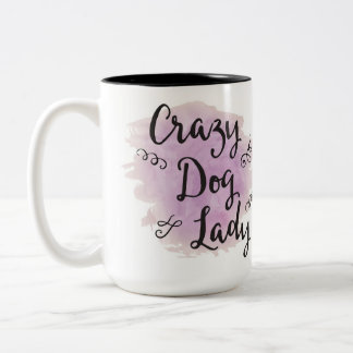 Crazy Dog Lady (Purple) Two-Tone Coffee Mug