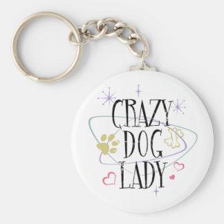 Crazy Dog Lady Vintage Basic Round Button Key Ring