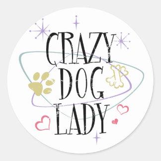 Crazy Dog Lady Vintage Round Stickers