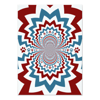 Crazy Dog Lover Paw Prints Red Blue Pattern 5x7 Paper Invitation Card