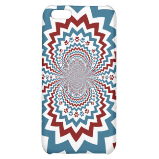 Crazy Dog Lover Paw Prints Red Blue Pattern Cover For iPhone 5C