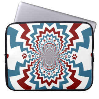 Crazy Dog Lover Paw Prints Red Blue Pattern Laptop Computer Sleeves