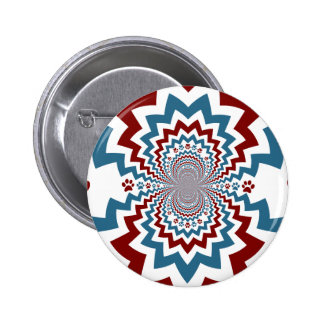 Crazy Dog Lover Paw Prints Red Blue Pattern Pin