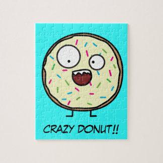 Crazy Donut sprinkles vanilla icing sweet dessert Jigsaw Puzzle