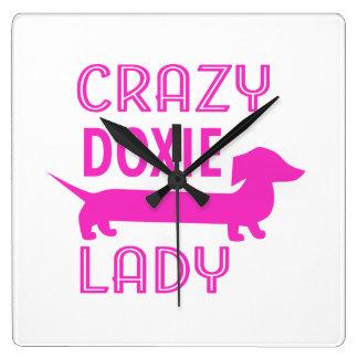 Crazy Doxie Lady Funny Dachshund Mama Clocks