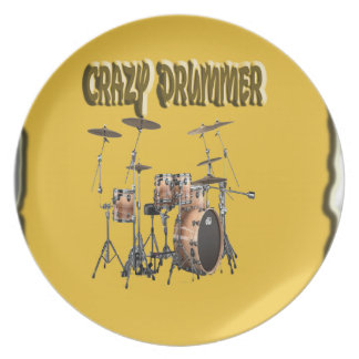 Crazy drummer With Background Party Plates
