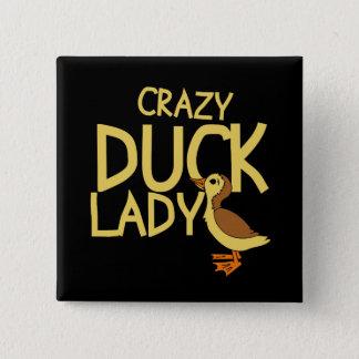 Crazy Duck Lady 15 Cm Square Badge