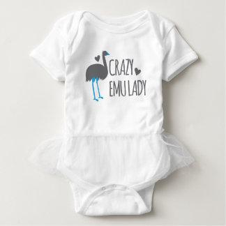crazy emu lady baby bodysuit